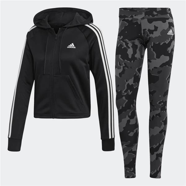 ADIDAS TUTA HOODIE AND TIGHTS - NERO/CAMOUFLAGE - DZ8708