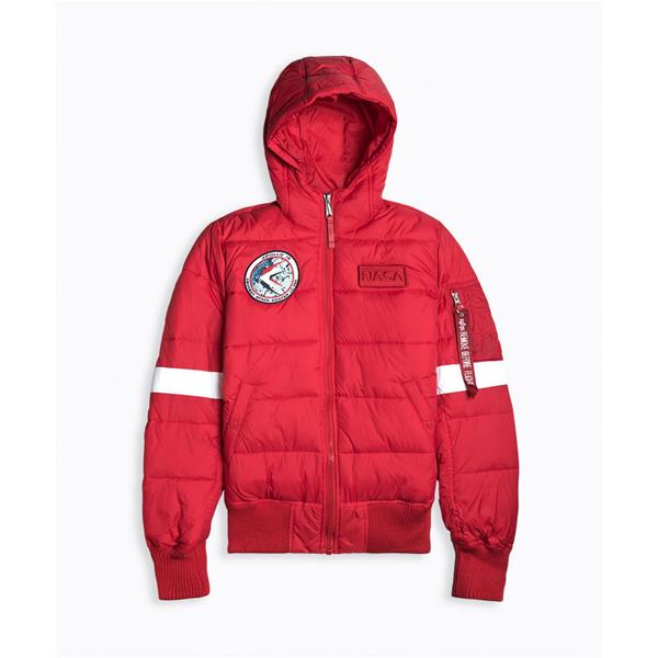 ALPHA INDUSTRIE GIACCA HOODED PUFFER - ROSSO - 198121-328
