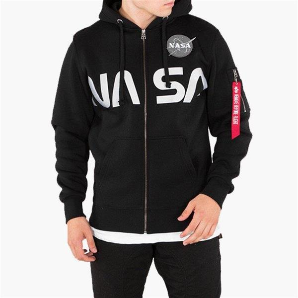 ALPHA INDUSTRIES FELPA NASA ZIP HOODY - NERO - 178326-03