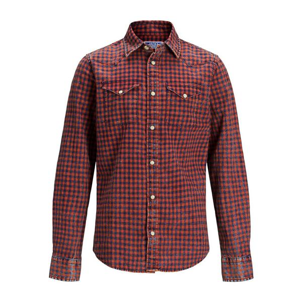 JACK & JONES CAMICIA - BORDEAUX/BLU - 12168182-BDX