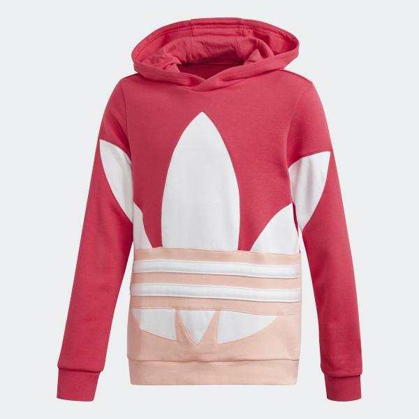 ADIDAS HOODIE LARGE TREFOIL - CORALLO/BIANCO/ROSA - GD2721