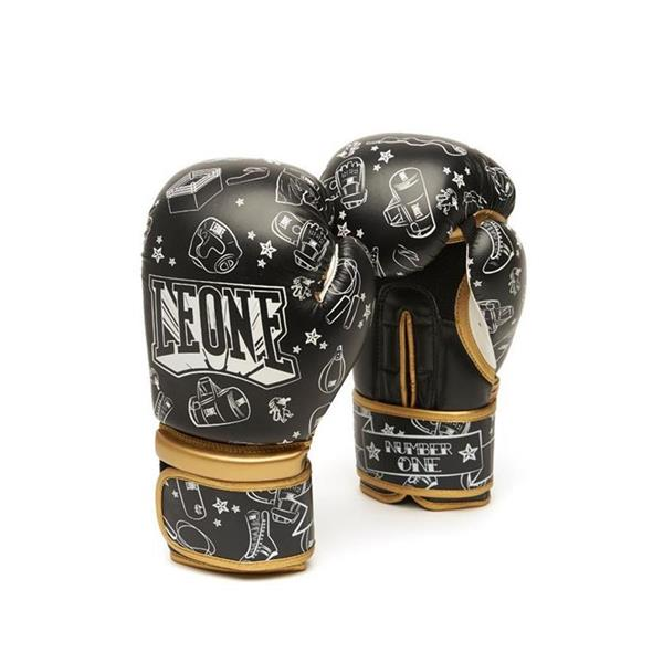 LEONE GUANTI BOXE NUMBER ONE 6OZ - NERO/BIANCO - GN401-01/06